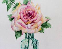 Rosen Malerei Blumen Art Geburtstagsgeschenk rosa von PDisanska