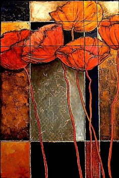 "Patchwork Poppies by Carol Nelson Acrylic ~ 36 x 24- Contemporary Mixed Media Flower Art Painting ""Patchwork Poppies"" by Colorado Mixed Media Abstract Artist Carol Nelson"