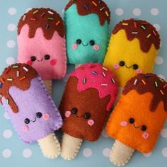 Loisirs créatifs : personnages et gâteaux en feutrine Cute felt ice lollies ! Blooming Felt's thick wool felt would make these beautifully www. Diy For Kids, Crafts For Kids, Arts And Crafts, Cute Crafts, Diy Crafts, Sewing Crafts, Sewing Projects, Felt Projects, Fabric Crafts