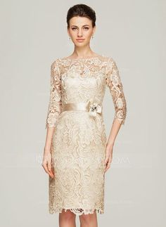 [£ 124.00] Sheath/Column Scoop Neck Knee-Length Lace Mother of the Bride Dress With Beading Flower(s) (008062563)