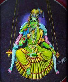 Meenakshi Shiva Art, Ganesha Art, Krishna Art, Mysore Painting, Tanjore Painting, Indian Traditional Paintings, Indian Paintings, Indian Goddess, Durga Goddess