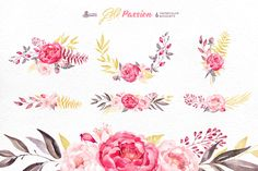 Gold Passion. Floral collection by OctopusArtis on Creative Market