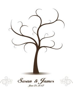 aDIY Wedding Guest Book - Printable PDF - Digital Curly Fingerprint Signature Tree 16x20, 17x22, 18x24 or 20x25 inches. $18.00, via Etsy.