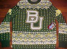 Baylor Bears Basketball NCAA Big 12 Campus Ugly Green 100% Acrylic Sweater L New #CampusSpecialties #BaylorBears