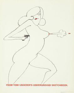 Original Vintage Poster Tomi Ungerer Nude Gun Erotic Bullet Underground 1970s #Modernism