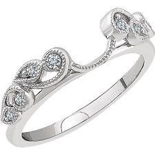 14k White Gold Diamonds Vintage Solitaire Wrap Ring Guard solitaire enhancer