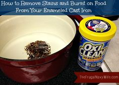 How to Clean Your Enameled Cast Iron - I love my enameled cast iron pots but the white inside shows the slightest amount of dirt. This trick takes no scrubbing and make post look like new!