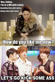 I love Sehun's face. And this is even funnier after seeing the Maxstep music video.