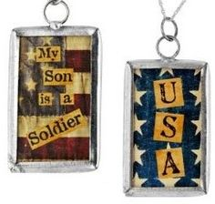 2 Sided Glass Pendant My Son is a Soldier USA Flag US Army Patriotic $3.99