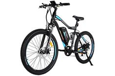 Addmotor HITHOT Electric Bicycle Motor 104 AH Samsung Lithium Battery Electric Bike With Fork SuspensionSpring Shock Absorber Hithot Mountain Ebikes 2017 For AdultsBlue >>> Be sure to check out this awesome product. (This is an affiliate link) Electric Mountain Bike, Mountain Bicycle, Mountain Biking, Best Electric Bikes, Electric Bicycle, Cool Bicycles, Cool Bikes, Muscle Power
