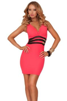 Deep V-neck Sleeveless Leatherette Strap Waist Cut Out Panel Club Short Dress on hotgirlsclothes.com