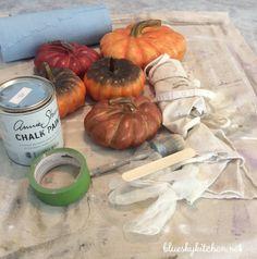 How to chalk paint plastic pumpkins - bluesky kitchen