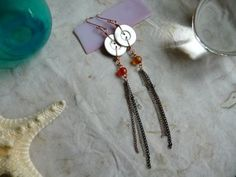 Mother of Pearl Button & Mismatched Indian Glass Bead with Long Chain Earrings, $16.00
