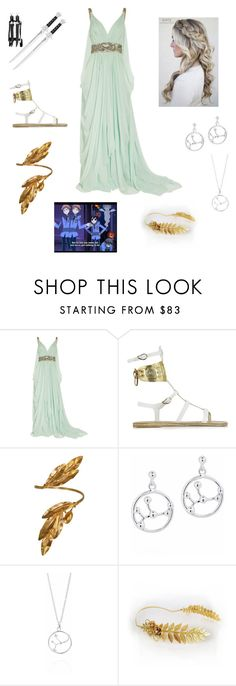 """Goddess Halloween Costume"" by fashion-anime-animals-reading ❤ liked on Polyvore featuring Marchesa, Tt Collection, Ancient Greek Sandals and Vassiliki"