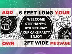 Cupcake Banner Girls Birthday Party Banner Tea Party Banner