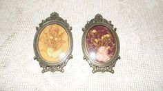 VINTAGE MADE IN ITALY CONVEX BUBBLE GLASS FANCY FRAMES SET DRIED FLOWERS SET