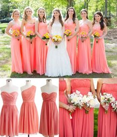 Coral pink bridesmaid dresses 2014 trend for spring summer wedding #summerwedding #weddingideas