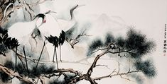 Japanese Crane Watercolor on rice/bamboo paper, 59 inches by 30 inches  By Thanapoom Boonipat ('16)