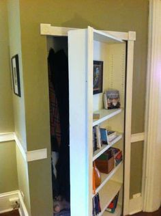 The Mysterious Bookcase DIY secret bookshelf door - the gate latch hooked up to the secret book as door opener is awesome Secret Door Bookshelf, Bookshelf Closet, Cool Bookshelves, Bookcase Door, Bookshelf Plans, Built In Bookcase, Closet Doors, Bookshelf Diy, Attic Closet