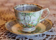 "Royal Albert ""Silver Birch"" bone china tea cup and saucer set.. $30.00, via Etsy."