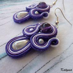 Ametystové ornamenty Soutache Earrings, Drop Earrings, Beads, Jewelry, Fashion, Beading, Moda, Jewlery, Jewerly