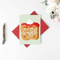 Waffle Lot Valentine's Day Card by LittleLoveliesStudio on Etsy