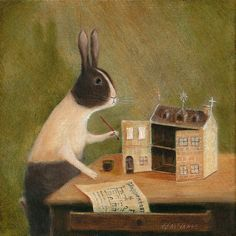 Fine Art Print of an Original Animal Painting: от TheLitusGallery Rabbit Art, Bunny Art, Naive Art, Watercolor Animals, Children's Book Illustration, Animal Paintings, Cute Art, Creative Art, Fantasy Art