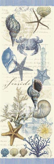 By The Sea III Art Print by Elizabeth Jordan at Art.com Nautical Prints, Nautical Theme, Decoupage Vintage, Decoupage Paper, Framed Artwork, Wall Art, Art Carte, Beach Design, Sea Art