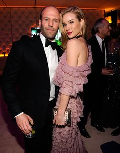 Rosie Huntington-Whiteley in Valentino Haute Couture and Jason Statham at the Vanity Fair Oscar Party, February 2013