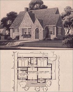 sustainablesmallhouses:  1936 Sears Wilmore - 900 SF This plan was introduced as The Jewel but renamed as The Wilmore by 1935. It's a tidy, small English cottage style in the Revival tradition of the late 1920s, Source: Modern Homes by Sears Roebuck and Co. Antique Home Style plan collection.