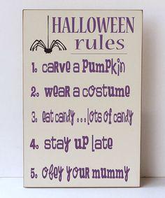 'Halloween Rules' Wall Sign by Vinyl Crafts #zulily #zulilyfinds