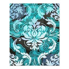 Diamond Damask, SHANGHAI in Teal Posters