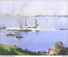 HMS Renown, Sydney Harbour shows the ship anchored in the Athol Bight having brought the Prince of Wales to Australia. It was painted from the North Shore and shows the Domain, Elizabeth Bay and . Australian Painting, Australian Artists, Landscape Paintings, Oil Paintings, Landscapes, Prince Of Wales, Ernest, Local Artists, Sydney