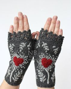 SMALL size, Hand Knitted Fingerless Gloves, Heart, Dark Grey, Red, Gray, Gloves & Mittens, Gift Ideas,   READY to SHIP