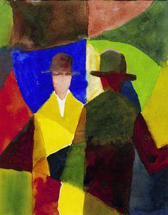 beenaround-ordinaryperson:  August Macke (1887-1914): Spiegelbild im Schaufenster (Mirror Image in  Shop Window), 1913. Colored ink over pencil, 28.7 x 22.5 cm. Private  collection.