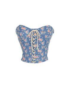 Floral Lace Up Bustier - Bandeaus & Bralettes - Tops - dELiA*s