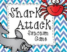This is an adorable game called Synonym Shark Attack. This card game was designed to review synonyms in a fun way. First, Shuffle all the cards. Then place them face down in the center. Each student takes turns grabbing one card from the center reading the word and stating the synonym for that card.