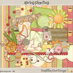 Digital Scrapbooking Spring Planting Kit By Dandelion Dust Designs #DandelionDustDesigns #Digital Scrapbooking