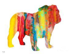 English Bulldog Painting by Watercolor Girl