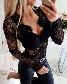 Sheer Eyelash Lace Long Sleeve Bodysuit trendiest dresses for any occasions, special event dresses, accessories and women clothing. Mode Outfits, Fashion Outfits, Womens Fashion, Elegantes Outfit, Looks Chic, Festival Looks, Blouses For Women, Sexy Women, Bodycon Dress