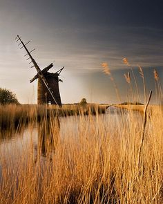 Abandoned Norfolk Windmill ~ these werren't, like many other mills, for grinding corn or fulling wool, but were used to pump water from the marshes of the Norfolk Broads.