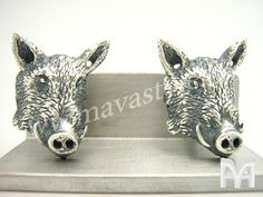 Sterling Silver Wild Boar Head Cufflinks by MAVASTYLE on Etsy