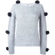 MSGM Pom Pom Jumper ($408) ❤ liked on Polyvore featuring tops, sweaters, grey, gray top, msgm, grey sweater, gray sweater and pom pom sweater