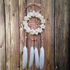 3 floral Creme & Pfirsich Traum Catcher von DreamDen auf Etsy