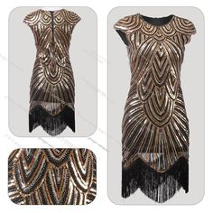 1920s Flapper Dress Great Gatsby Charleston Sequin Beads Fringe Party Dress 6-18 #Unbranded #BallGownEveningGownFringe1920s20s #CocktailEveningPartyPromWeddingHalloween
