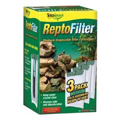 Tetra 25845 ReptoFilter Filter Cartridges, Medium, 3-Pack - ReptoFilter disposable filter cartridges use dense, dual sided mesh to catch debris and waste while the Ultra Activated carbon absorbs odors and discoloration.