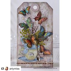 """317 Likes, 13 Comments - Paula Cheney (@luckyday) on Instagram: """"Emma used the new Flutter stamp from @tim_holtz and @stampersanonymous to create this fun piece!…"""""""