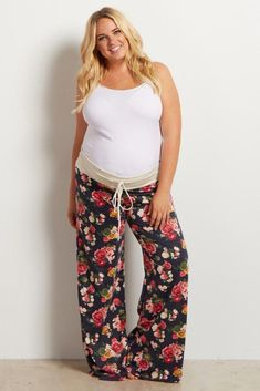 e85ebd2608 A floral printed plus maternity pajama pants. Drawstring waistband.   pregnancy4me Maternity Pjs