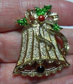 Vintage Christmas Bell brooch enamel bell by GingersLittleGems