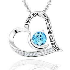 Mothers Day Gifts EldaCo Jewelry Sterling Silver  I Love You To The Moon and Back  forever Love Heart Pendant Necklace  Heart  Moon Gifts for Women 1125 *** Check this awesome product by going to the link at the image.Note:It is affiliate link to Amazon. #NecklacesCollection